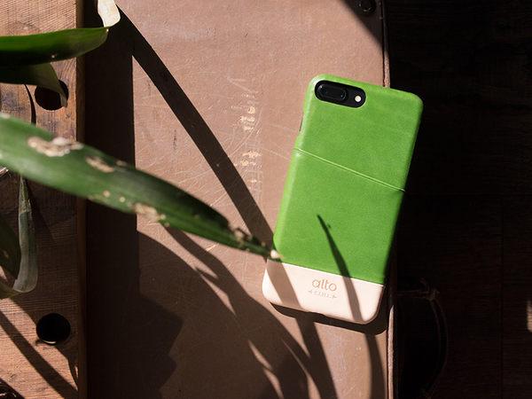 alto iPhone 8 Plus / iPhone 7 Plus真皮手機殼背蓋 5.5吋 Metro - 萊姆綠/本色 【可加購客製雷雕】皮革保護套