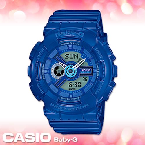 CASIO卡西歐 手錶專賣店 Baby-G BA-110BC-2A 女錶 藍色 潮流活力 礦物玻璃 防水100米 橡膠錶殼錶帶