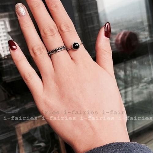 現貨+快速★黑瑪瑙開口食指麻花2兩件套戒指★ifairies【30370】