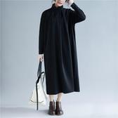 純色半高領洋裝連身裙女 文藝氣質加厚大尺碼中長款針織裙子 超值價