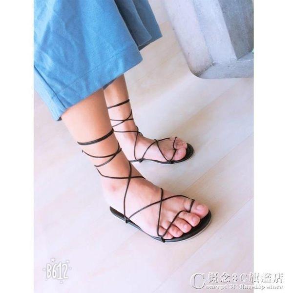 韓國平跟涼鞋女夏交叉綁帶復古羅馬鞋一字扣學生平底涼鞋 概念3C旗艦店