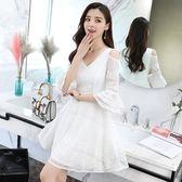 S-XXL韓版洋裝禮服22973夏裝新款女裝v領顯瘦收腰a字裙氣質露肩白色蕾絲連身裙