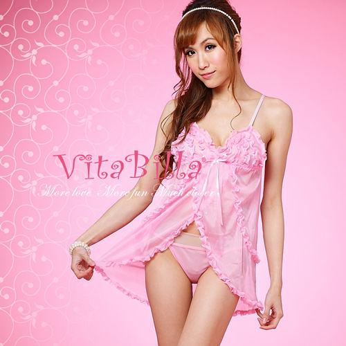 【伊莉婷】VitaBilla 粉色吊帶 睡裙+小褲 二件組