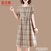 棉麻洋裝 小個子連身裙女夏季2021新款大碼文藝收腰顯瘦氣質棉麻短袖裙格子 新品