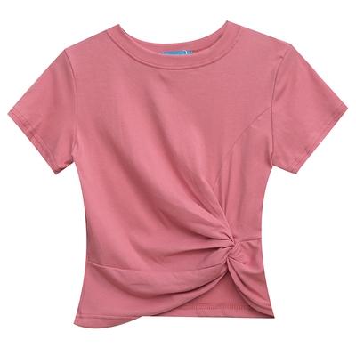 短袖T恤~純棉 基礎款不規則百搭圓領短款短袖T恤女T305日韓屋