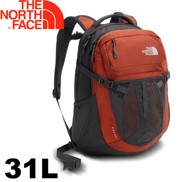 【The North Face 美國 31L 15吋電腦背包《深灰/紅》】CLG4/電腦書包/筆電包/後背包★滿額送