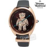 Vivienne Westwood / VV103BRGY / Crazy Bear 狂歡泰迪皮革晶鑽腕錶 棕x玫瑰金x灰 38mm