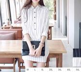 EASON SHOP(GU0911)厚片妹子長版直條紋長袖白襯衫M-5XL排扣加大碼中長款雪紡襯衫條紋連身裙洋裝