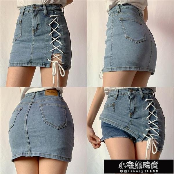 夏季款款綁帶包臀裙高腰半身牛仔裙女防走光性感顯瘦短褲裙顯腿長 小宅妮