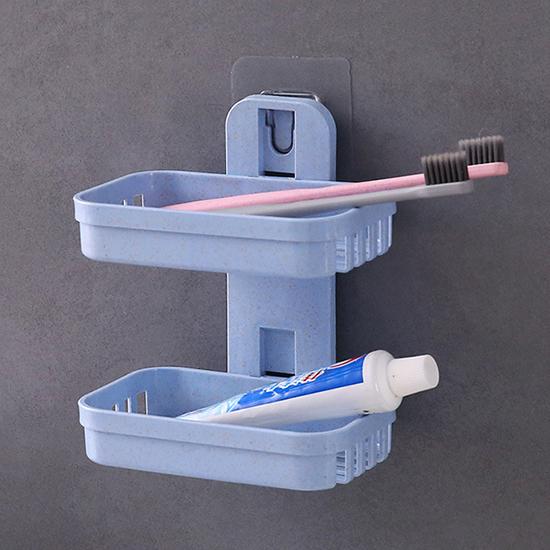 肥皂架 免打孔 雙層 免釘 肥皂盒 掛架 無痕背膠 壁掛 收納  小麥壁掛肥皂架【X008】米菈生活館