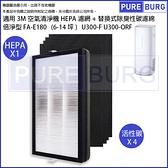 適用3M倍淨型FA-E180 (6-14坪)空氣清淨機HEPA濾網+替換式除臭性碳濾綿同U300-F U300-ORF