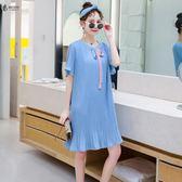 2019夏裝新款大尺碼 女裝微胖mm仙女人遮肚子洋氣心機顯瘦減齡連身裙