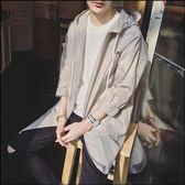 夏季防曬衣男韓版學生外套超薄透氣中長款皮膚衣青少年連帽防曬服   9號潮人館