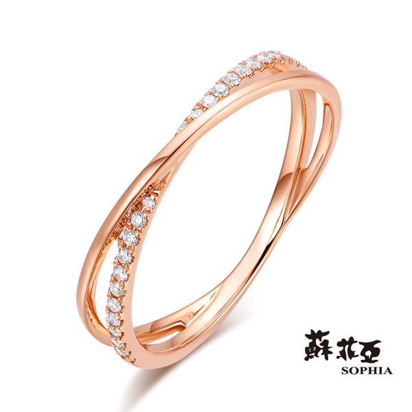 蘇菲亞SOPHIA - 娜妮亞鑽石玫瑰金線戒