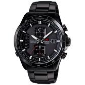 CASIO EDIFICE系列 終極元素太陽能電波運動錶(鋼帶-黑紅)