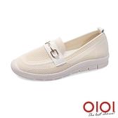 休閒鞋 馬銜釦飛織輕量便鞋(米) *0101shoes【18-W03mi】【現+預】