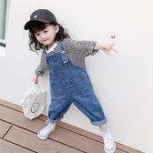 女童裝春裝時尚正韓兒童牛仔吊帶褲女寶寶小孩長褲子洋氣