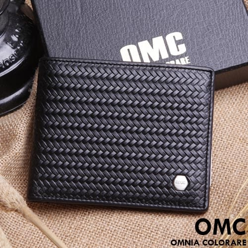 OMC - 六角編織系真皮款6卡左右翻短夾