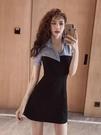 洋裝性感拼接連身裙性感收腰顯瘦黑色修身連身裙洋氣質OL包臀裙子潮2F-B131-A 韓依紡
