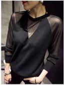寬鬆顯瘦上衣毛衣套頭女v領針織衫
