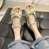 草莓涼鞋平跟女厚底學生菠蘿鞋百搭沙灘羅馬涼鞋潮【千尋之旅】