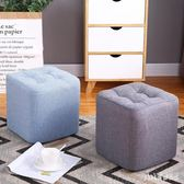 小凳子實木板凳沙發凳創意成人懶人換鞋布藝方凳客廳家用單人矮凳 qf25700【pink領袖衣社】