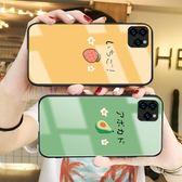 動漫IPhone 11pro鋼化玻璃矽膠手機套 個性防摔可愛蘋果11pro Max 手機殼 iphone 11卡通創意情侶保護套