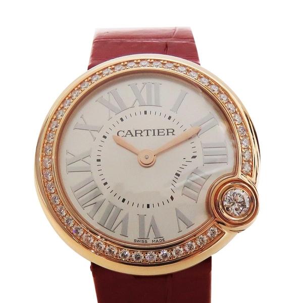 Cartier 卡地亞 白色面盤紅色鱷魚皮錶帶石英鑲鑽碗錶 Ballon Blanc de Cartier