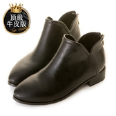 amai頂級牛皮-《Vicky維琪》簡約帥氣雙V側開踝靴 黑