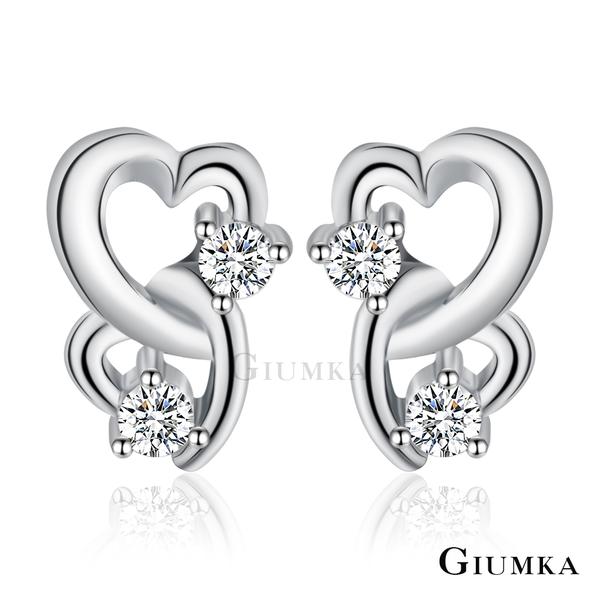 GIUMKA迷你耳骨雙愛心耳釘女S925穿耳貼式耳環雙環元素設計送禮銀飾品牌推薦MFS06047