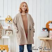 【Tiara Tiara】羊毛混紡開襟長版都會風大衣外套(灰/駝)