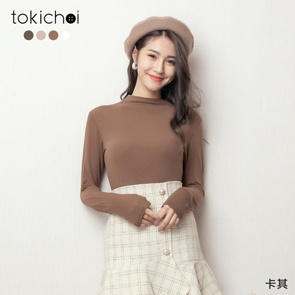 東京著衣-tokichoi-秋日氛圍小立領素面打底多色長袖上衣(191332)【現+預】