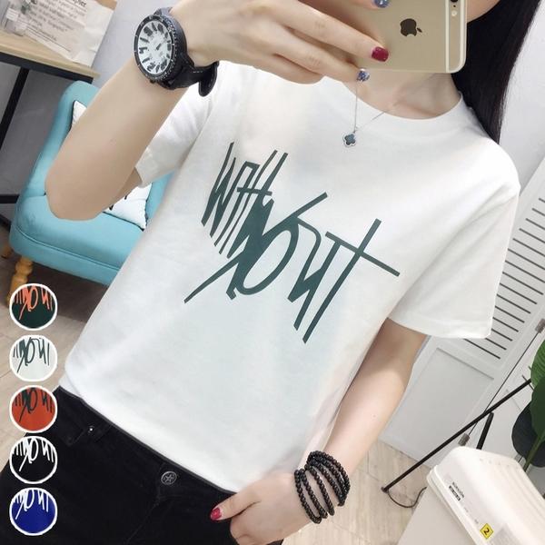 圓領字母燙印純色T恤(5色) M~3XL【514997W】【現+預】-流行前線-