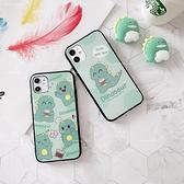 可愛卡通恐龍鏡面玻璃殼 OPPO A74 A53 A73 A72 A31 A91 A5 A9 2020 立體支架軟邊手機殼