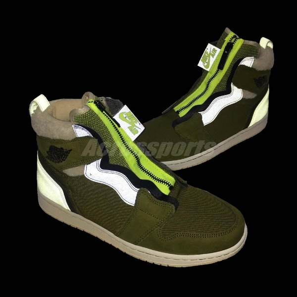 【三折特賣】Nike Wmns Air Jordan 1 High Zip Up 綠 紫 女鞋 拉鍊設計 喬丹1代 【PUMP306】 AV3723-300