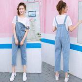 新款牛仔吊帶褲女可愛學生韓版bf寬鬆原宿九分闊腿連身褲 至簡元素