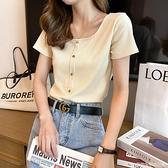 方領短袖T恤女夏短款年新款高腰緊身ins潮鎖骨復古法式上衣服 居家物語