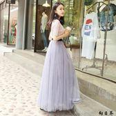 紗裙 長裙紗裙半身裙長裙公主裙chic韓風裙子學院大擺加蓬a字裙網紗蓬蓬裙