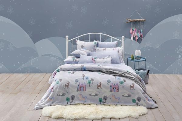 【La mode】100%精梳純棉磨毛兩用被雙人床包組_冰雪城堡
