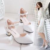 高跟涼鞋2018新款尖頭粗跟中高跟包頭涼鞋女春夏百搭韓版一字扣帶中空單鞋   草莓妞妞