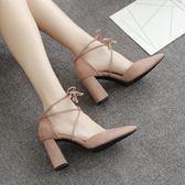 韓版時尚綁帶高跟鞋百搭尖頭單鞋百搭學生氣質女鞋