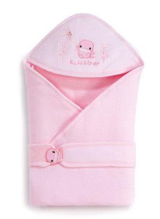 【奇買親子購物網】酷咕鴨KU.KU. 秋冬logo造型包巾(藍色/粉色)