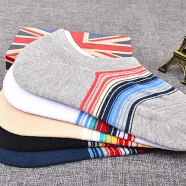 襪子【FSM018】彩色條紋男隱形襪 短襪 運動襪 條紋襪  船型襪 男女襪 學生襪-123ok