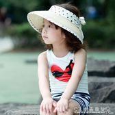 親子帽子母子遮陽防曬太陽帽兒童編織草帽女沙灘帽寶寶空頂帽  水晶鞋坊