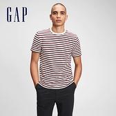 Gap男裝 棉質舒適圓領短袖T恤 530924-紅色條紋