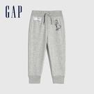 Gap男幼童 碳素軟磨系列 法式圈織互動趣味運動褲 837496-淺灰色