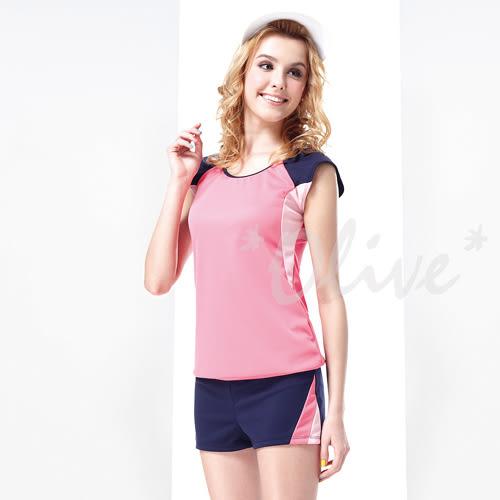 ☆小薇的店☆MIT聖手品牌亮眼拼接風格時尚短袖二件式泳裝特價890元 NO.A92352(M-L)