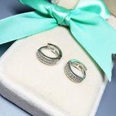 耳環 925純銀鑲鑽-簡潔優雅生日情人節禮物女飾品73ia72【時尚巴黎】
