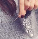 韓版  鏤空鑲鑽盾牌珍珠長項鍊。【BeautyBox】O1603S1002