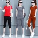 套裝兩件套含棉休閒運動套裝女21年夏裝韓版顯瘦時尚大碼短袖七分褲 快速出貨
